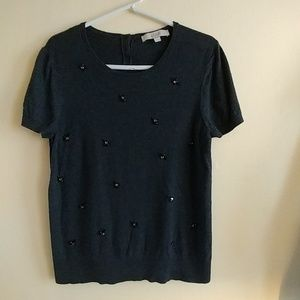 Charcoal short sleeve sweater with beading